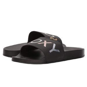 Roxy Black Sport Slides Size 7